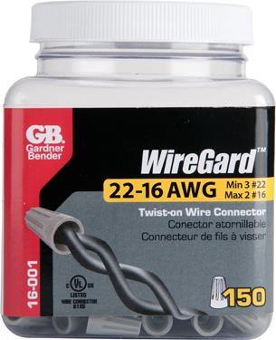 16-001n 22-16awg Wire Conn Gray 150/jar
