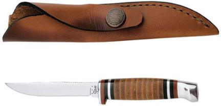 00379 Knife Leather Hunter W/leather Sheath