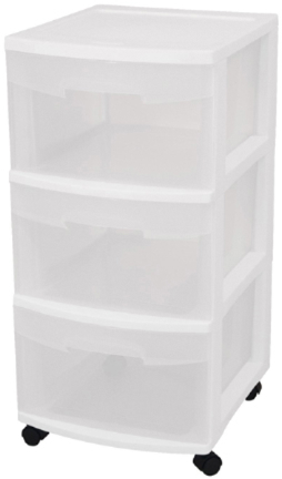 28308002 WHITE 3 DRAWER CART