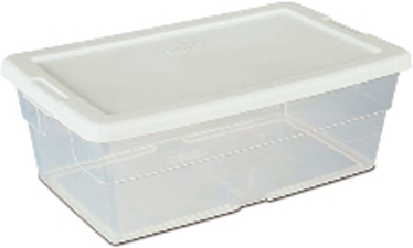 16428036 6 QT. STORAGE BOX WHITE LID/CLEAR BASE