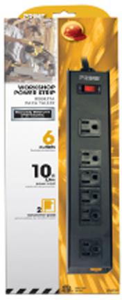 PB801120(PB00112)6-OUTLE T STRIP BLK METAL 10' CO