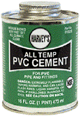 018320-12 PVC CEMENT ALL WEATHER 16OZ CLEAR