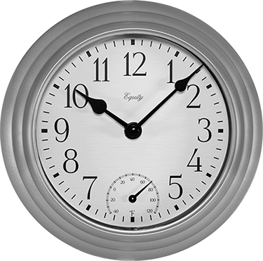 29007 WALL CLOCK IN/OUTDOOR W/THERMOMETER