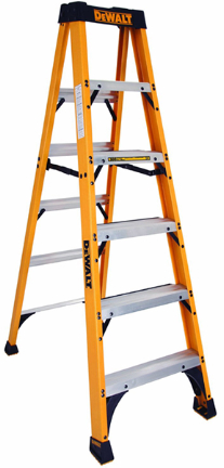 DXL3010-06 LADDER 6FT YELLOW FBRGL STEP DEWALT