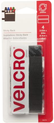 90075 VELCRO® Brand STRI PS 3/4 X 3-1/2 BLK CD