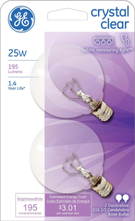 17722 25W Cand. G16.5 Clear 2 pk