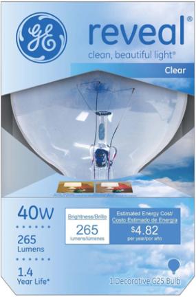 48695 40W G25 Med Reveal White Globe