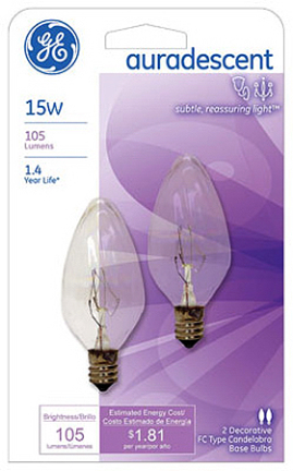48394 15W F10 Cand Clearr Aura. Flame 2 pk