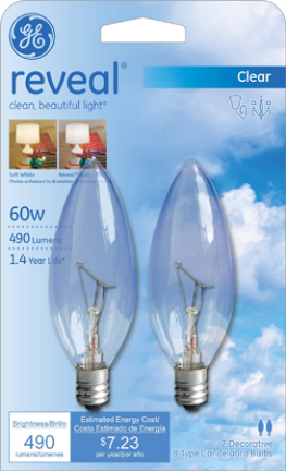 48700 25W B10 Cand. Reveal Clear 2 pk