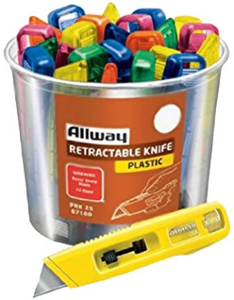 PRK25 PLASTIC RETRACT KNIFE W/1 BLADE