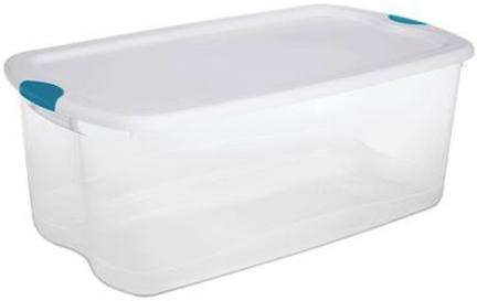 14998004 LATCHING BOX 106 QT CLEAR WHITE LID