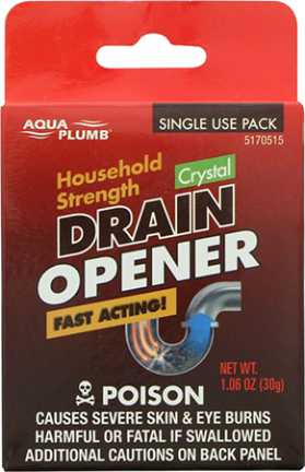 5170515 DRAIN OPENER SINGLE USE PACK CLEAR