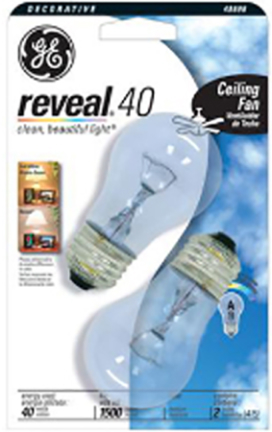 48696 40W A15 Med Reveal Clear 2 pk
