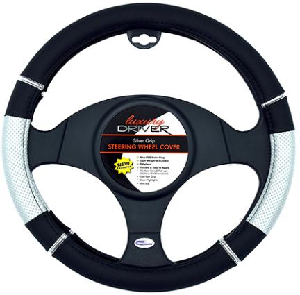 14090 Glitter Glam Silve Steering Wheel Cover