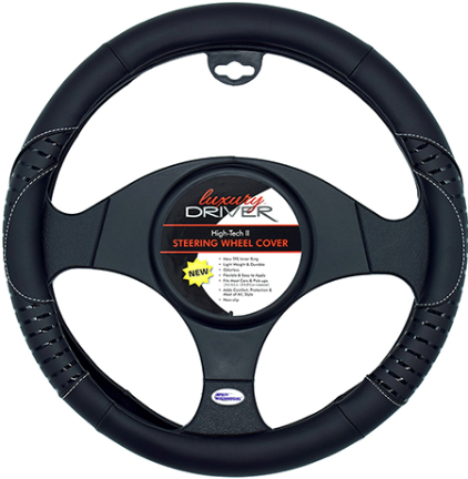 14415 High Tech Black Steering Wheel Cover