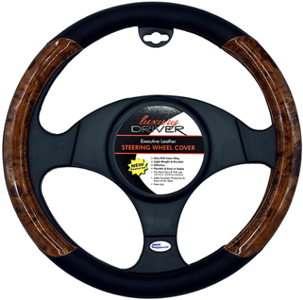 14125 LEATHER BLACK STEERING WHEEL COVER