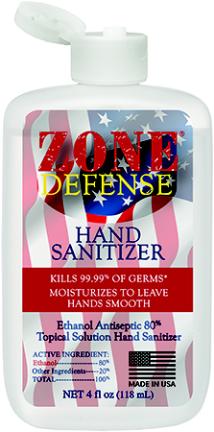 106-04s Zone Defense Hand Sanitizer 4 Oz